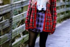 With white blouse, plaid skirt, black tights and flat shoes