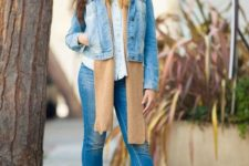 With white shirt, denim jacket, brown scarf and jeans