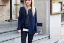 With white shirt, navy blue blazer, black skinny pants and slip on shoes