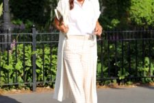 With white shirt, printed culottes and white long cardigan