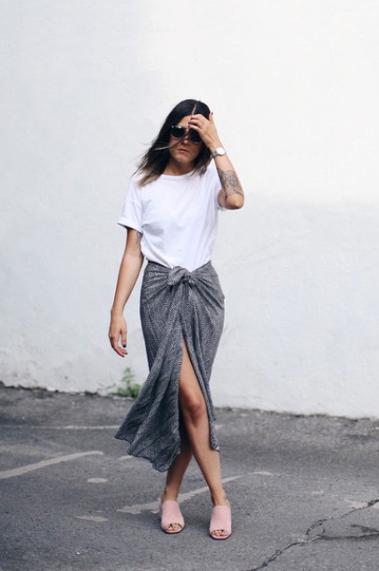 With white t-shirt and gray maxi skirt