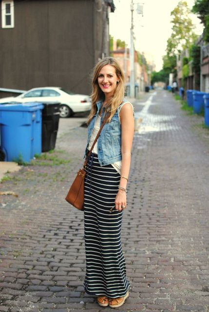 summer layered look with a denim vest