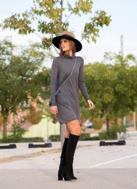 With wide brim hat, crossbody mini bag and black boots