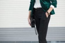02 a work outfit with dark grey pants, a white shirt, an emerald velvet blazer and black heels