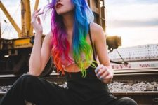 02 bold and colorful long rainbow hair is a wow statement for any girl