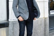 02 navy jeans, a white shirt, a striped tie, a navy blazer, a grey coat and brown shoes