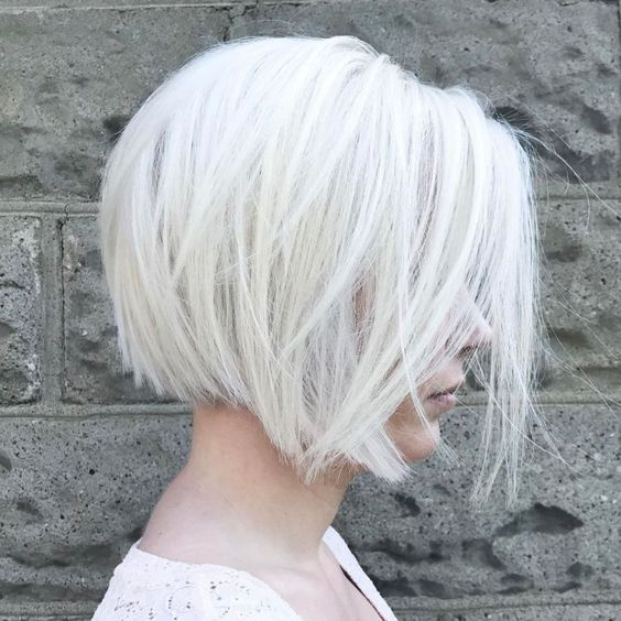 such a layered silver white bob is a trendy and edgy idea to rock