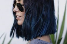 03 a long textural bob with a black to blue ombre for a super edgy look
