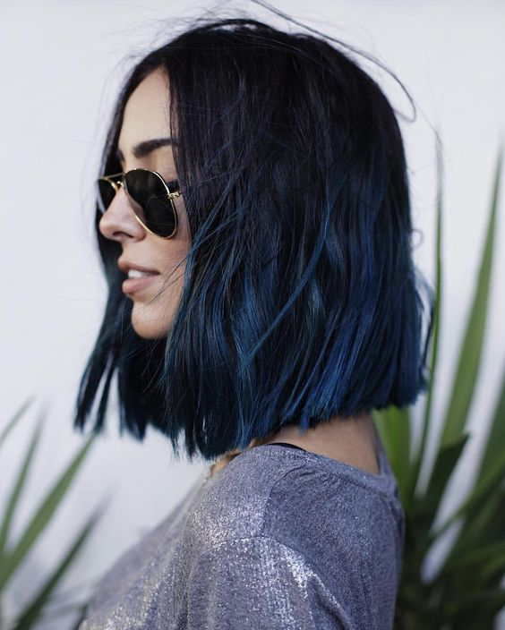 a long textural bob with a black to blue ombre for a super edgy look