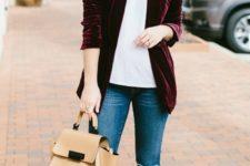03 a plum-colored velvet blazer, a white tee, blue denim, nude shoes and a nude bag