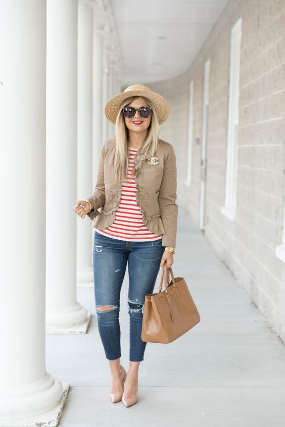 a simple look with ripped denim, a striped tee, a tan jacket, nude shoes and a straw hat