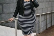 03 a striped black and white midi dress, lace up shoes and a black leather jacket for a date