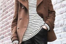 03 black leather pants, a striped top and a short brown coat to feel comfy