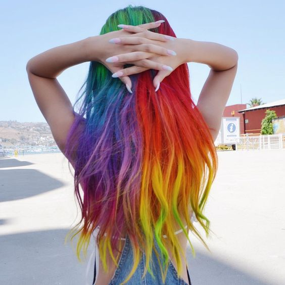 feel a unicorn with bright rainbow hair like this one