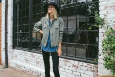 04 a fall look with black skinnies, a blue chambray shirt, an olive green jacket, leopard booties and a black hat