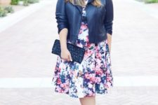 04 a floral midi dress, a black leather jacket, shoes and a clutch for a summer to fall look