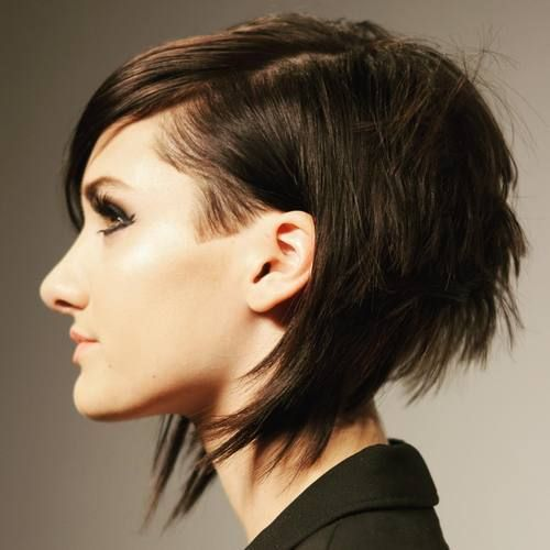 a short angle layered bob with bangs is a bold statement idea