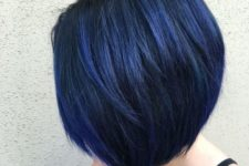 04 a short layered blue black bob with balayage is a trendy coloring idea for fall or winter