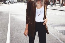 04 black cropped jeans, a white top, a rust velvet blazer and black booties with pointed toes