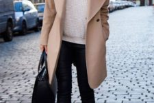 04 black denim, a creamy sweater, a camel coat, black sneakers and a bag for a casual feel