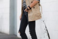 04 black ripped jeans, burgundy moccasins, a striped long sleeve top and a tan short trench