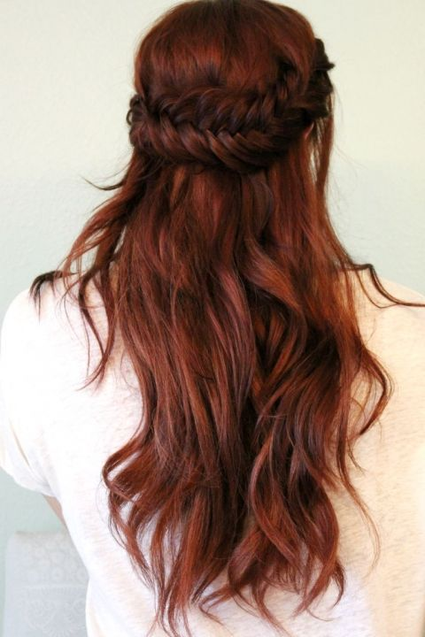 half up fishtail braid with loose waves will show off your color the best way possible