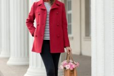 04 two tone flats, black cropped jeans, a striped top, a red short coat and a camel bag