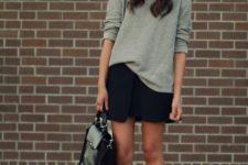 05 a grey sweatshirt, a black modern mini, black heels and a bag for a catchy modern look