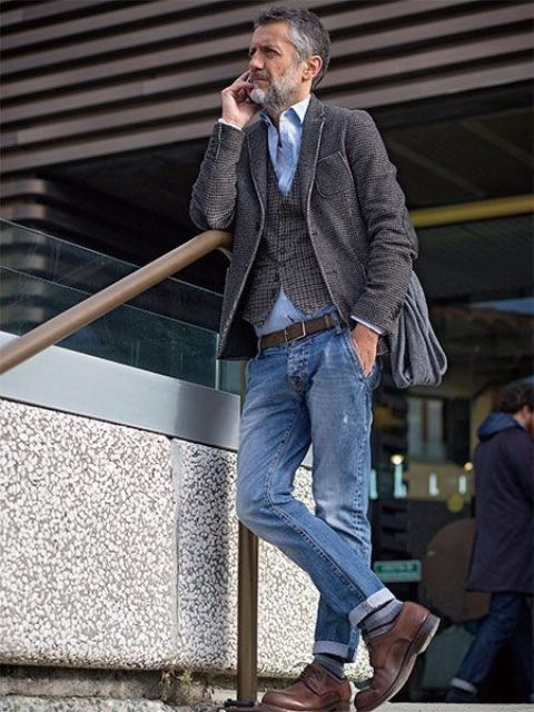 blue denim, a blue shirt, brown shoes and a printed waistcoat and blazer for a chic fall look