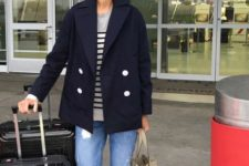 05 distressed jeans, white sneakers, a striped top, a navy short coat for comfy travelling