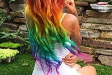 05 long wavy hair dyed in rainbow colors is a great bright idea to rock