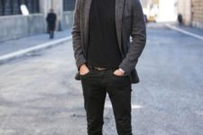 06 a black tee, black jeans, brown boots, a grey blazer for a casual work look