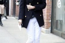 06 a black top, black boots, white jeans and a navy short coat for a contrast
