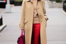 06 a camel turtleneck and a coat, red pants, leopard shoes and a hot pink bag for a bright look