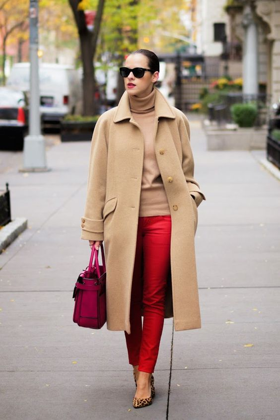 a camel turtleneck and a coat, red pants, leopard shoes and a hot pink bag for a bright look