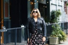 06 a moody floral midi dress, a black leather jacket and shoes plus a pink bag