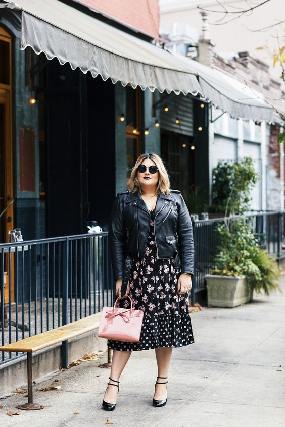 a moody floral midi dress, a black leather jacket and shoes plus a pink bag