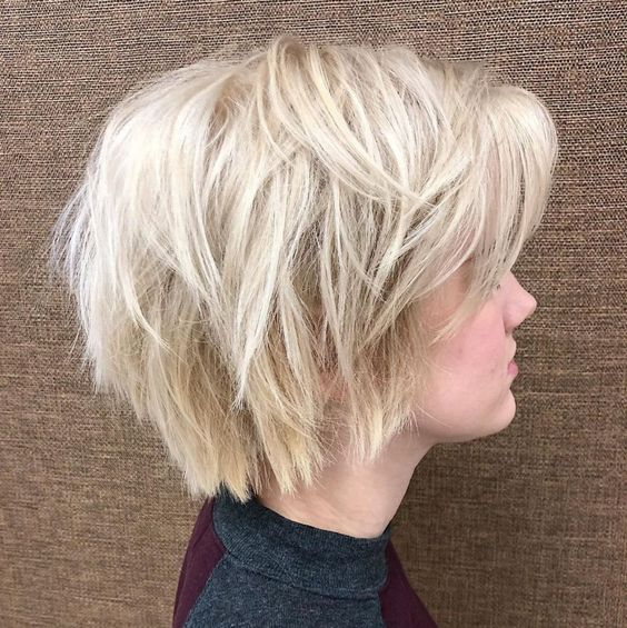a wispy layered platinu blonde bob is a fresh and bold idea to rock
