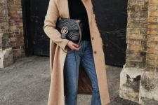 07 a black turtleneck, ablue denim, black booties, a midi camel coat and a black bag