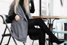 07 a black turtleneck, black leggings, tall boots and a hat plus a short grey woolen coat