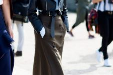 07 a blue shirt, a cropped black leather jacket, a brown button down midi and brown shoes