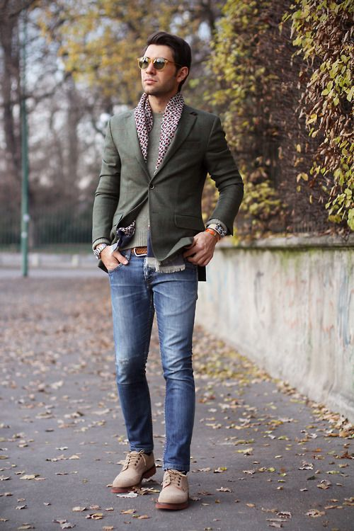 a grey top, an olive grene blazer, blue denim and creamy suede shoes for a fall look
