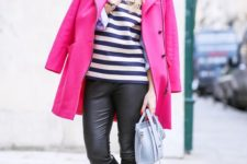 07 a striped top, black leather pants, black boots, a hot pink coat as a bold touch