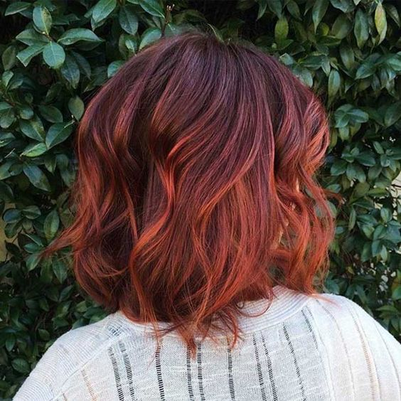 auburn hair with copper red ombre plus messy waves for a bit of edge