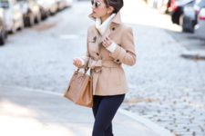 07 navy pants, a white sweater, leopard print shoes and a tan short trench for a fall work look