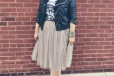 07 nude shoes, a grey tulle skirt, a printed tee, a black leather jacket and statement accessories