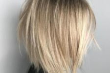 08 a V-cut and razored blonde bob with a darker root will make your look ultra-modern