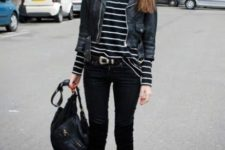 08 a black and white stroped top, a cropped black jacket, black skinnies and black velvet boots