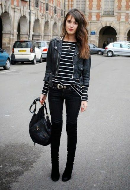 a black and white stroped top, a cropped black jacket, black skinnies and black velvet boots