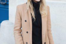 08 a black turtleneck, blue denim, a camel short coat for a simple fall look